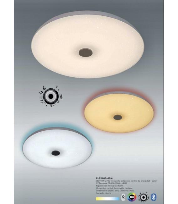TRON Plafón blanco 48w LED CCT variable RGB+Música Bluetooth-APP