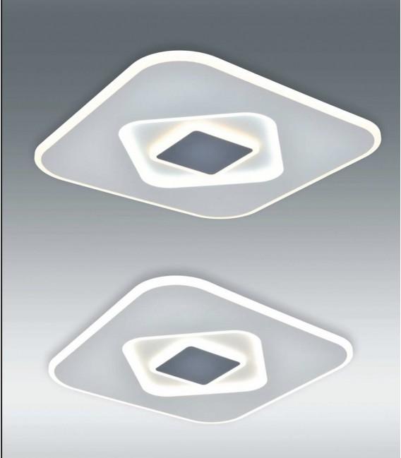 SOLAR Plafón led cuadrado 90w blanco y gris