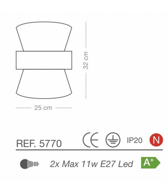 Aplique Lámpara de Pared TOSSA dos luces Pantalla Saco