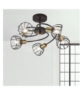 Lámpara Rústica Cinco Luces E14 BERMEO Negro Mate/Oro