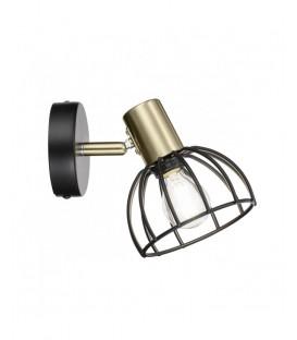 Lámpara de Pared de una Luz E14 Negro/Oro BERMEO